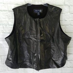 Lane Bryant Leather Vest w/ Sweater Back